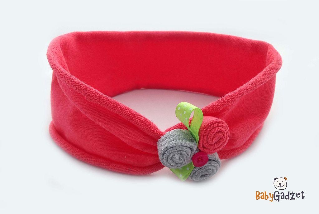 opaska różowa bawełniana na główkę dziecka na spacer